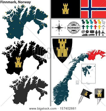 Vector map of county Finnmark with coat of arms and location on Norwegian map