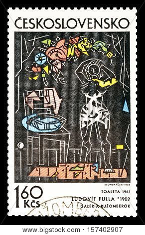 CZECHOSLOVAKIA - CIRCA 1972: Cancelled postage stamp printed by Czechoslovakia, that shows Painting by Ludovit Fulla.
