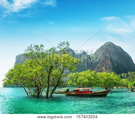 Boats on Railay beach Thailand. Summer seacape.