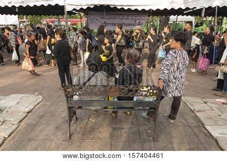BANGKOK THAILAND - OCT 25 : crowd of people in Sanam Luang area while the funeral of king Bhumibol Adulyadej in Grand Palace on october 25 2016