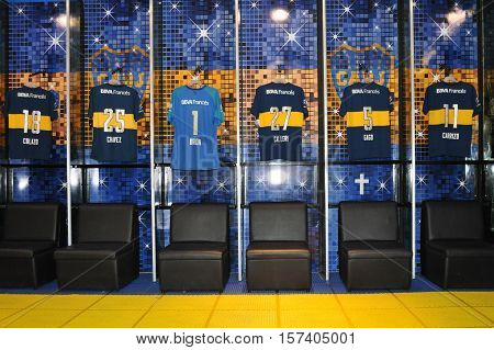BUENOS AIRES, ARGENTINA - FEBRUARY 28, 2015: Club Atletico Boca Juniors dressing room, Estadio Alberto Armando (La Bombonera) stadium. Boca Juniors is most successful and popular team in Argentina.