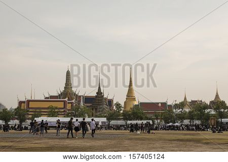 BANGKOK THAILAND - OCT 25 : A crowd of mourners at Sanam Luang while the body of Thailand Bhumibol Adulyadej keep in Grand Palace on october 25 2016