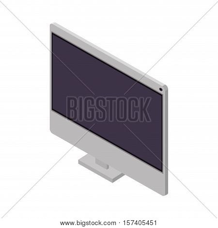 tech screen computer in wide flat vector illustration