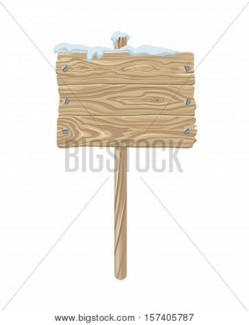 Bulletin board or road pointer vector. Flat design. Three wooden boards fastened with nails hanging on a pole covered snow. For seasonal advertising and promotions. Isolated on white background