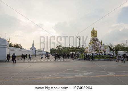 BANGKOK THAILAND - OCT 28 : scene of Na Phra Lan road in Sanam Luang area while the funeral of king Bhumibol Adulyadej in Grand Palace on october 28 2016