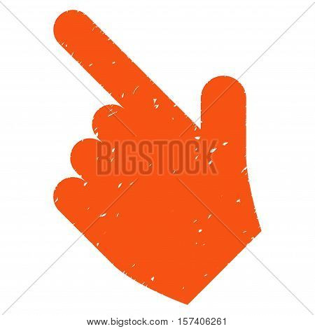 Hand Pointer Left Up grainy textured icon for overlay watermark stamps. Flat symbol with dirty texture. Dotted vector orange ink rubber seal stamp with grunge design on a white background.