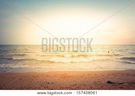 Sunset At A Beach And Sea