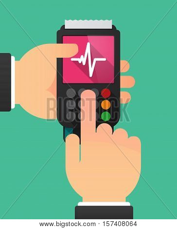 Hands With A Dataphone With A Heart Beat Sign