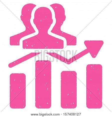 Audience Chart Trend grainy textured icon for overlay watermark stamps. Flat symbol with unclean texture. Dotted vector pink ink rubber seal stamp with grunge design on a white background.