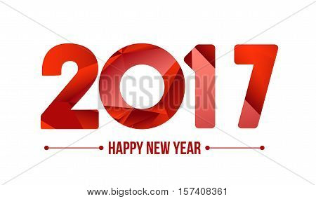Happy new year 2017. Year 2016 vector design element. Low poly illustration. Red design. Merry Chrstmas Background for dinner invitations, festive posters,promotional depliant, greetings cards.