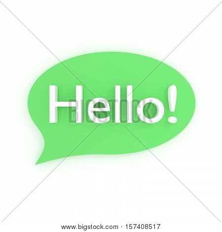 Word HELLO in bubble. 3D illustration on white background.