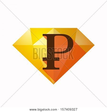 Isolated Diamond With A Ruble Sign