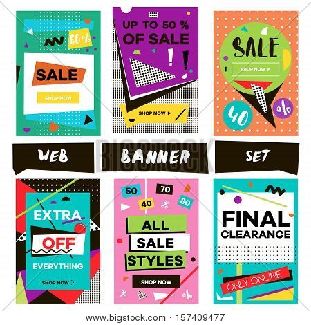 Media banners for online shopping. Design for mobile website banners posters email and newsletter. Vector creative sale banners template with hand drawn elements. Eye catcher banners set.