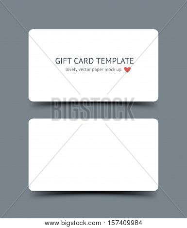 Business card template mock up with round corners and shadow isolated on dark background. Realestic vector paper cards for portfolio presentation, business identity