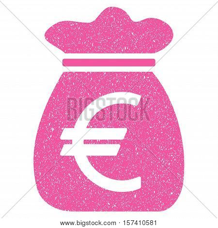 Euro Money Bag grainy textured icon for overlay watermark stamps. Flat symbol with dirty texture. Dotted vector pink ink rubber seal stamp with grunge design on a white background.
