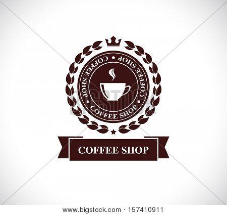 coffee shop designed label icon