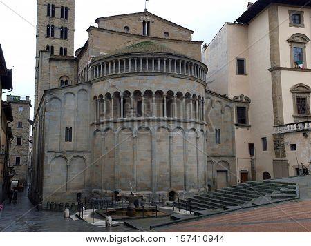 Arezzo - Romanesque Apse of Santa Maria della Pieve in Piazza Grande Tuscany Italy