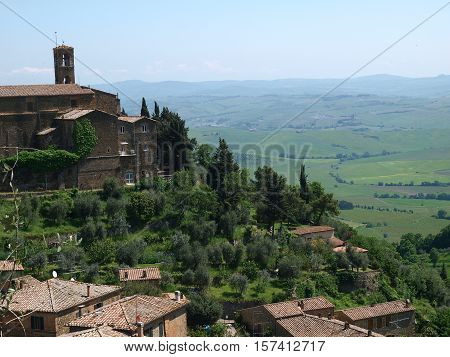Medieval Town In Montalcino Area Tuscany Italy