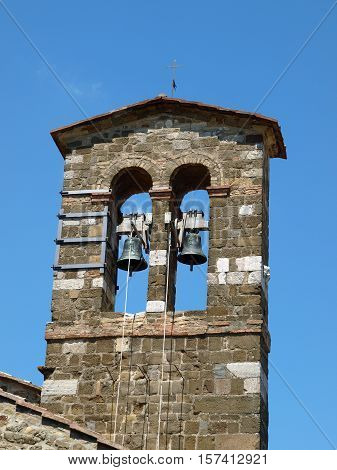 Medieval bell tower In Montalcino Tuscany Italy