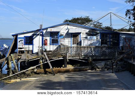 VILANO BEACH, FLORIDA, USA - OCTOBER 23, 2016: Aftermath of bait shop destruction caused by Hurricane Matthew hitting along the east coast of Florida on October 7, 2016