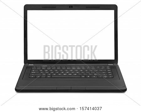 laptop with a blank screen isolated on white background