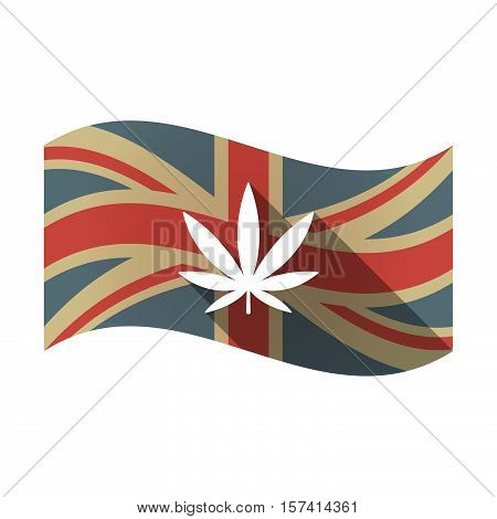 Isolated Uk Flag With A Marijuana Leaf