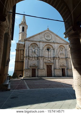 Pienza - Duomo facade. The town of Pienza is a small pearl in the Tuscan countryside. This fantastic town was declared an UNESCO World Heritage Site in 1996 and in 2004 the entire valley the Val d'Orcia was included on the list of UNESCO's World Cultural