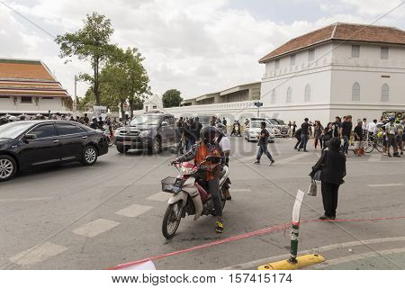 BANGKOK THAILAND - OCT 23 : motorbike service at south of Grand Palace near Sanam Luang while the funeral of king Bhumibol Adulyadej in Grand Palace on october 23 2016