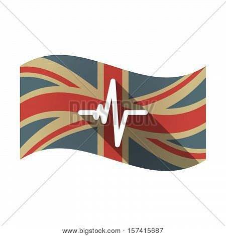 Isolated Uk Flag With A Heart Beat Sign