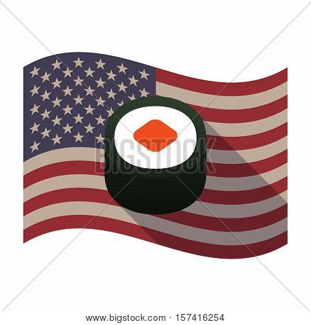 Long Shadow Usa Flag With A Piece Of Sushi Maki