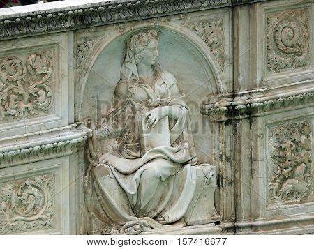 Panel of the Fonte Gaia (Fountain of Joy) Piazza del Campo Siena.
