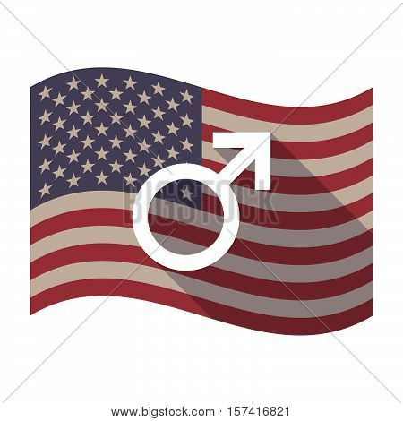 Long Shadow Usa Flag With A Male Sign