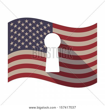 Long Shadow Usa Flag With A Key Hole