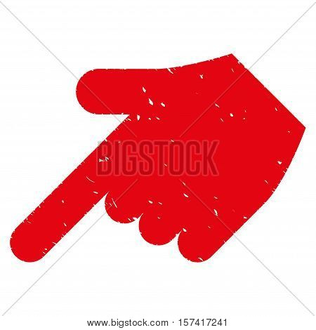 Hand Pointer Left Down grainy textured icon for overlay watermark stamps. Flat symbol with dust texture. Dotted vector red ink rubber seal stamp with grunge design on a white background.