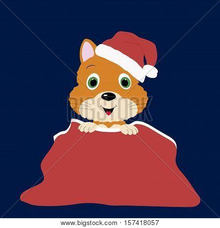 baby Christmas illustration of little kitten in Santa's bag. Vector illustration. Baby shower