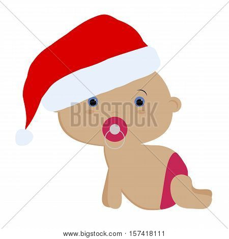 icon color cute baby girl crawls in Santa hat on white background. Baby vector illustration. Baby shower or arrival