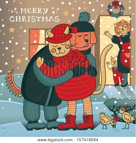 Winter hugs. Merry Christmas card with two friends embracing each other on the doorstep. Family gathering together to celebrate New Year and have a festive dinner. Awesome winter illustration in vector