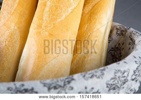 Basket with French Breads, so called baguettes