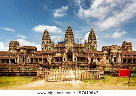 East Facade Of Temple Complex Angkor Wat In Siem Reap, Cambodia