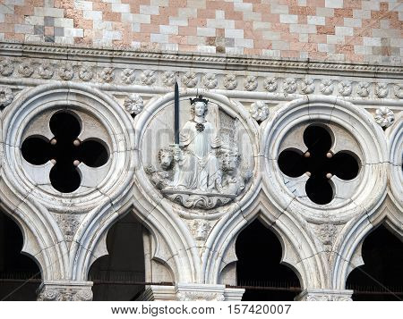 Venice - tracery from the Doge's Palace one of venice symbol