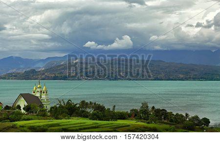 View of  Indonesian Christian Church at Toba Lake, North Sumatra