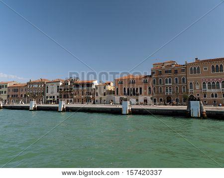 Venice - buildings along Giudecca Canal. Italy