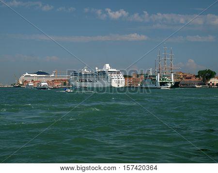VENICE, ITALY - MAY 23, 2010: Venice - buildings along Giudecca Canal