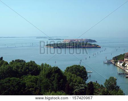 View on Venetian Lagoon and islands from Campanile San Giorgio Maggiore.