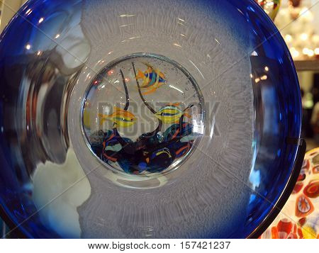 VENICE, ITALY - MAY 23, 2010: l glass with moire coloring from the Venetian island of Murano