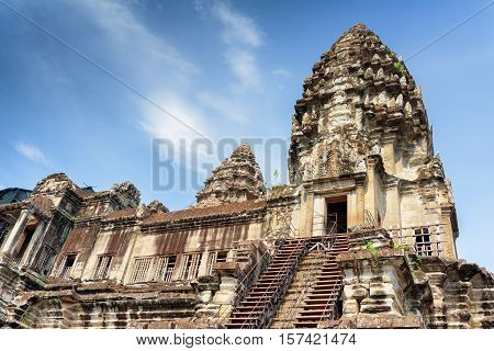 Stairs Leading To Temple Mountain Of Angkor Wat, Cambodia
