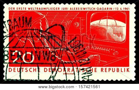 STAVROPOL RUSSIA - November 21 2016: a stamp printed by GDR shows the first astronaut Jury A. Gagarin circa 1961