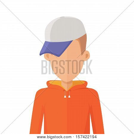 Teenager male personage portrait icon. Illustration for identity in Internet, concepts, app pictograms, infographic. Isolated on white background.