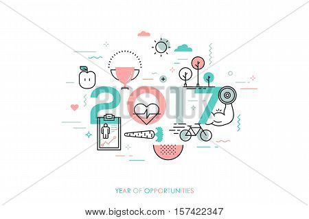 Infographic banner 2017 year of opportunities. New trends and prospects in healthcare, sports, fitness, lifestyle, sport nutrition. Plans and predictions. Vector illustration in thin line style.