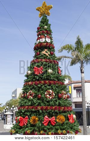 The Christmas tree on a pedestrian street in Napier town.